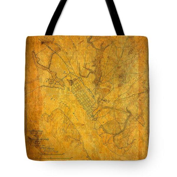 Old Vintage Map Of Jacksonville Florida Circa 1864 Civil War On Worn Distressed Parchment Tote Bag
