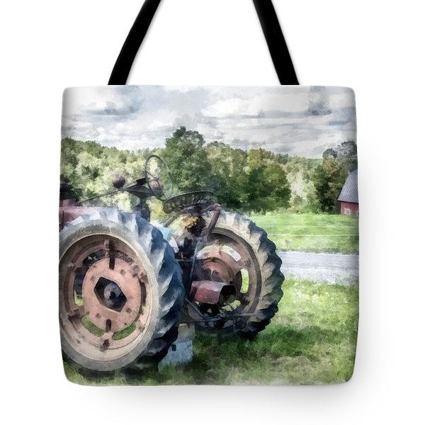 Old Vintage Tractor On The Farm Tote Bag