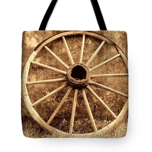 Old Wagon Wheel Tote Bag by American West Legend By Olivier Le Queinec