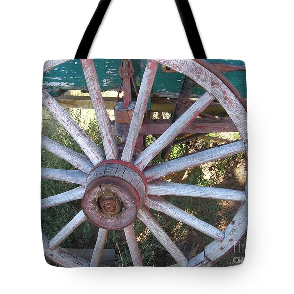 Tote Bag featuring the photograph Old Wagon Wheel by Dora Sofia Caputo Photographic Art and Design