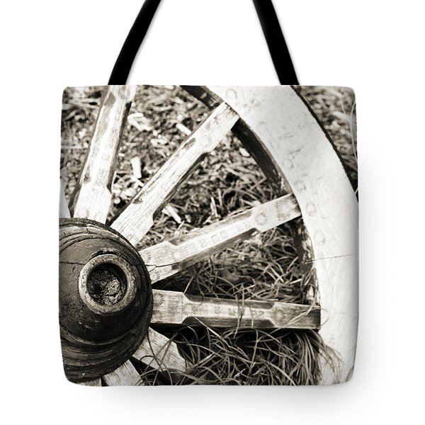 Old Wagon Wheel Tote Bag by Marilyn Hunt