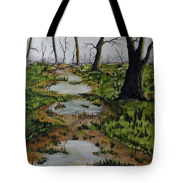 Tote Bag featuring the painting Old Walking Trail by Jack G  Brauer