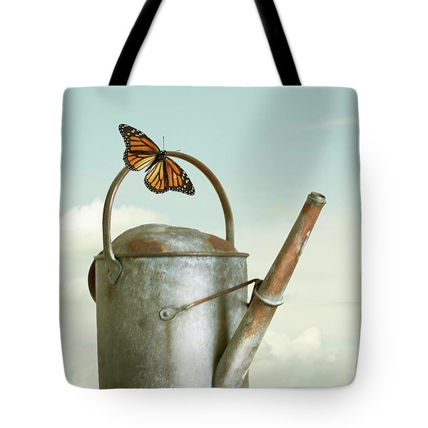 Old Watering Can With A Butterfly Tote Bag