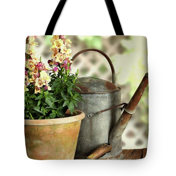 Old Watering Can With Plant Tote Bag