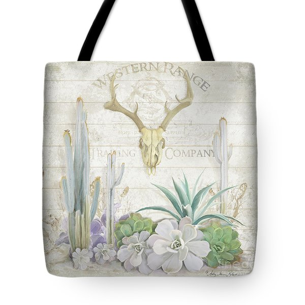 Old West Cactus Garden W Deer Skull N Succulents Over Wood Tote Bag