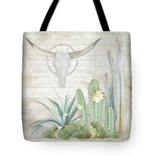Old West Cactus Garden W Longhorn Cow Skull N Succulents Over Wood Tote Bag by Audrey Jeanne Roberts