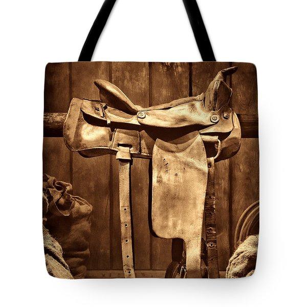Old Western Saddle Tote Bag