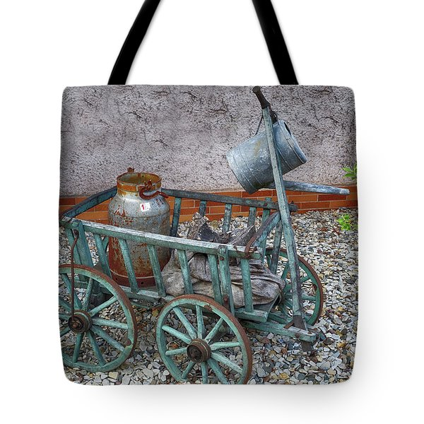 Old Wheelbarrow With Milk Churn Tote Bag