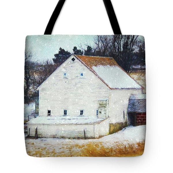 Old White Barn In Snow Tote Bag