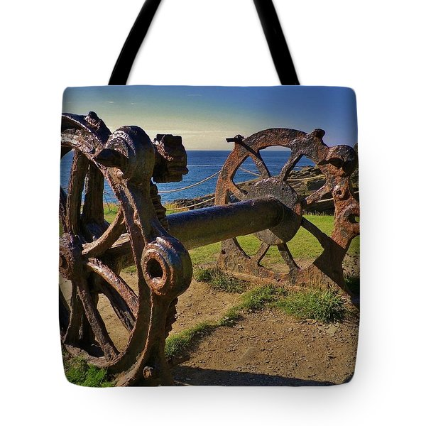 Old Winch Tintagel Tote Bag by Richard Brookes
