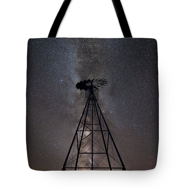 Old Windmill Under The Milky Way Tote Bag