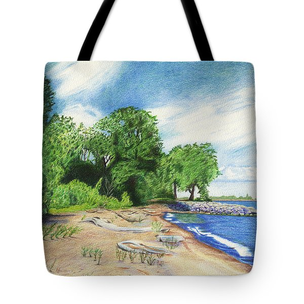 Tote Bag featuring the drawing Old Woman Creek - Huron Ohio by Shawna Rowe