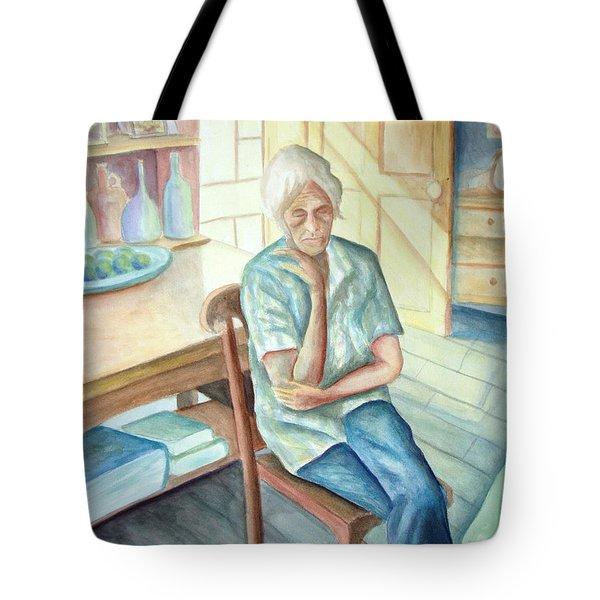Old Woman Tote Bag by Nancy Mueller