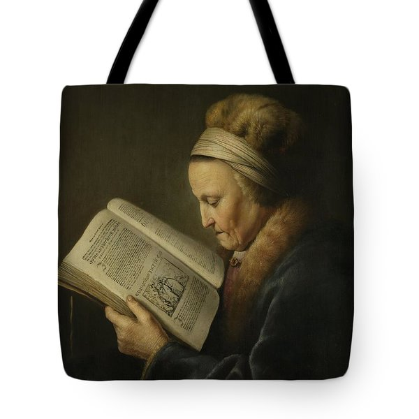Old Woman Reading Tote Bag by Gerard Dou