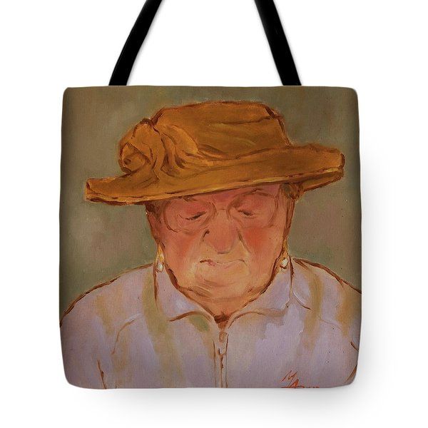 Old Woman With Yellow Hat Tote Bag