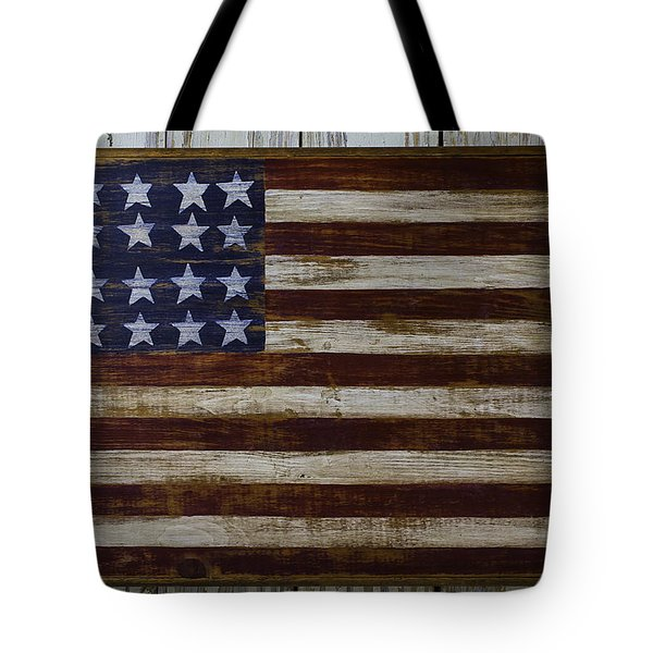Old Wooden American Flag Tote Bag