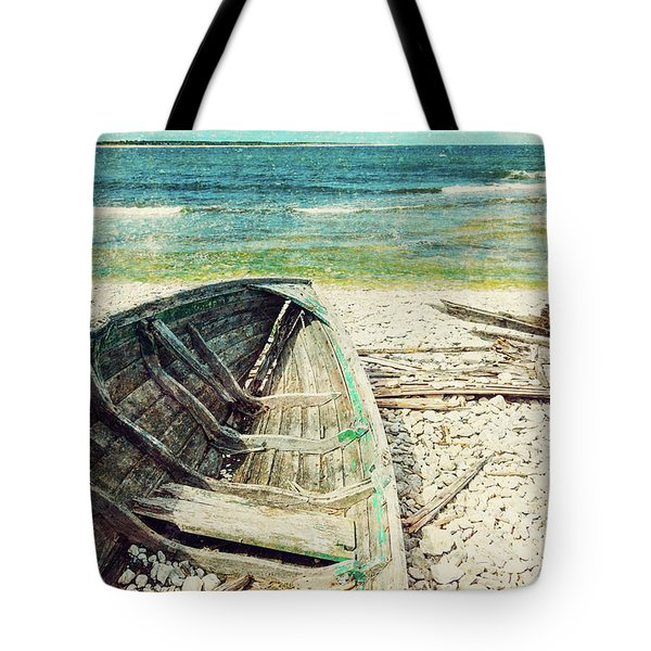 Old Wooden Boat On The Seashore, Retro Image Tote Bag