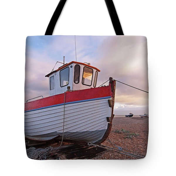 Old Wooden Fishing Boat Home By Sunset Tote Bag