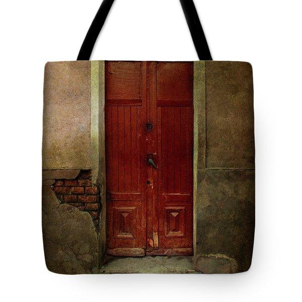 Old Wooden Gate Painted In Red  Tote Bag by Jaroslaw Blaminsky