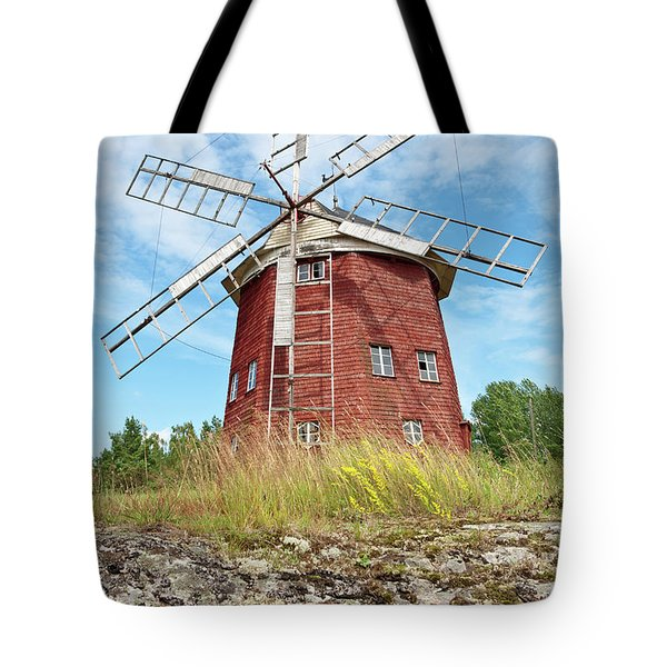 Old Wooden Windmill In Sweden Tote Bag