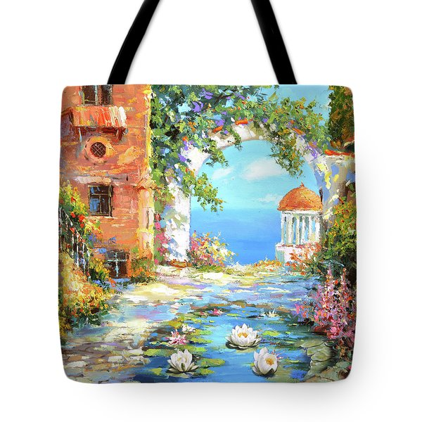 Tote Bag featuring the painting Old Yard  by Dmitry Spiros
