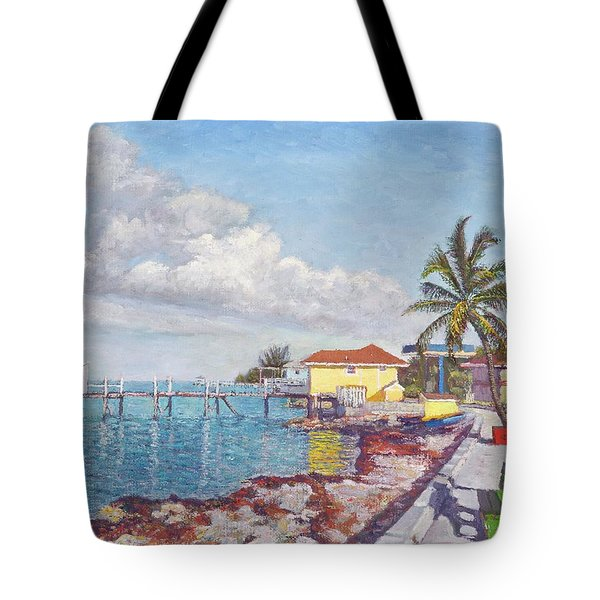 Old Yellow Gas Station By The Waterfront - Cooper's Town Tote Bag