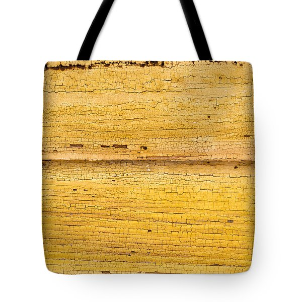 Old Yellow Paint On Wood Tote Bag by John Williams