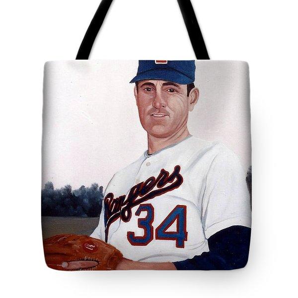 Older Nolan Ryan With The Texas Rangers Tote Bag