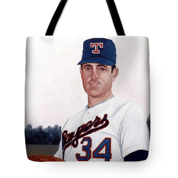 Older Nolan Ryan With The Texas Rangers Tote Bag
