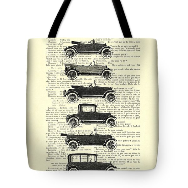 Collection Oldtimers In Black And White Vintage Illustration Tote Bag