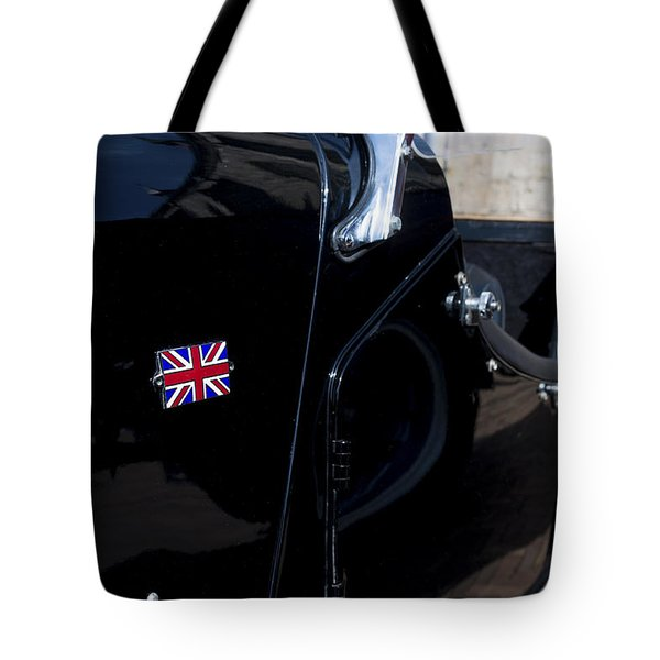 Tote Bag featuring the photograph Oldtimer With British Flag by Hans Engbers