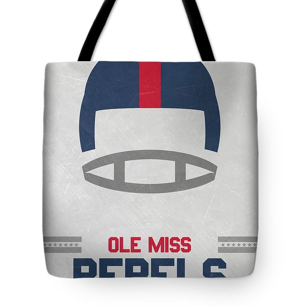 Ole Miss Rebels Vintage Football Art Tote Bag by Joe Hamilton