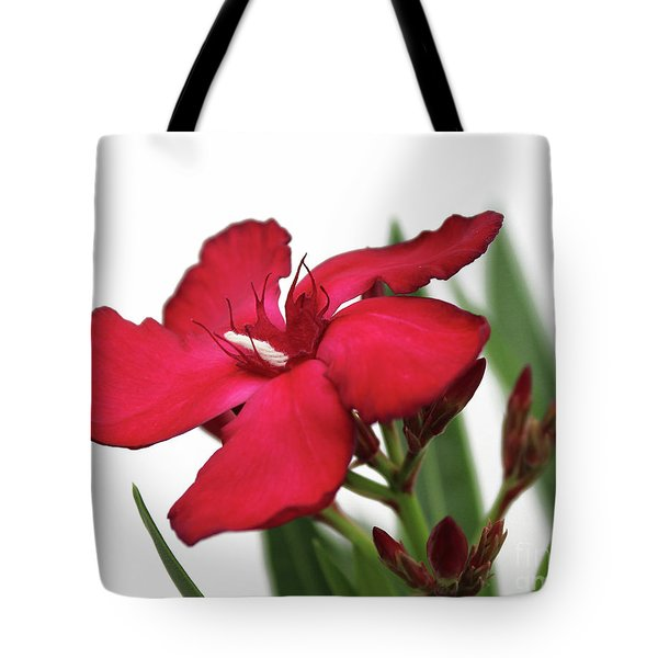 Tote Bag featuring the photograph Oleander Blood-red Velvet 2 by Wilhelm Hufnagl