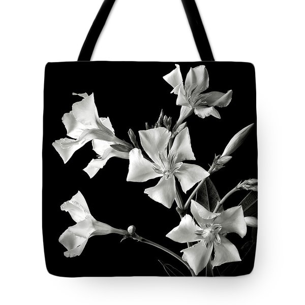 Oleander In Black And White Tote Bag by Endre Balogh