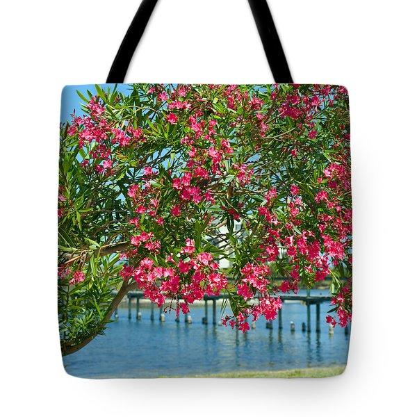 Oleander On Melbourne Harbor In Florida Tote Bag by Allan  Hughes