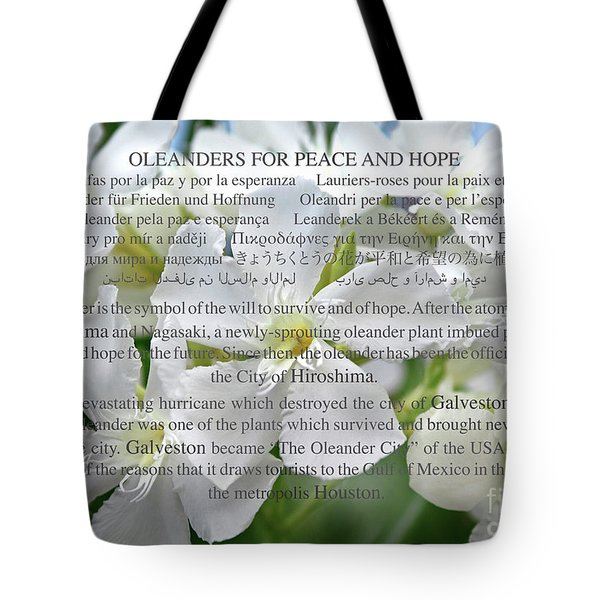 Oleanders For Peace And Hope Tote Bag by Wilhelm Hufnagl