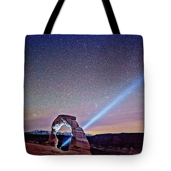 Tote Bag featuring the digital art Olena Art Starry Night Pointer At Delicate Arch Moab National Park by OLena Art Brand