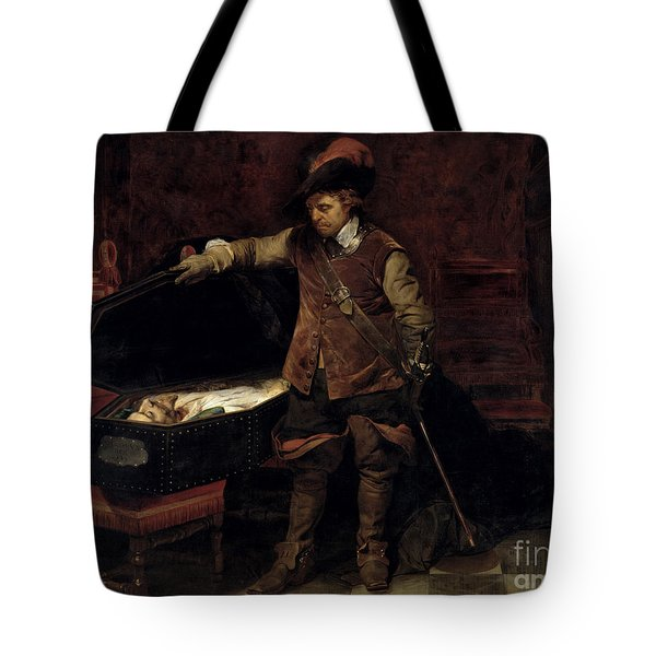 Oliver Cromwell Opening The Coffin Of Charles I  Tote Bag by Hippolyte Delaroche