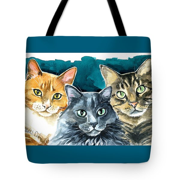 Oliver, Willow And Walter - Cat Painting Tote Bag