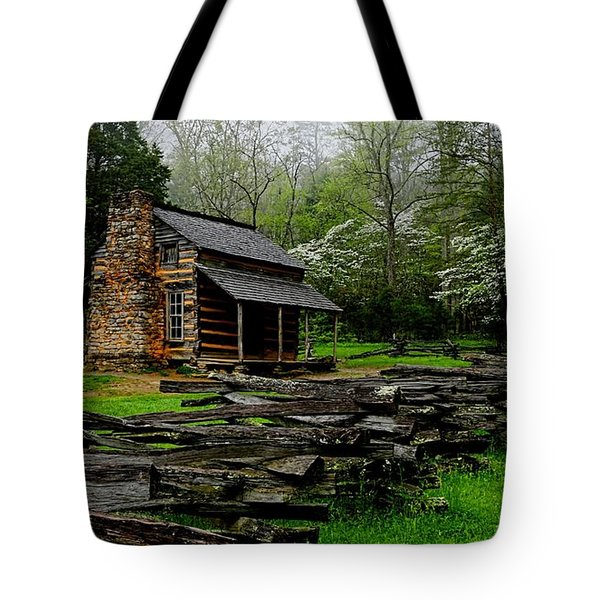 Oliver's Cabin Among The Dogwood Of The Great Smoky Mountains National Park Tote Bag