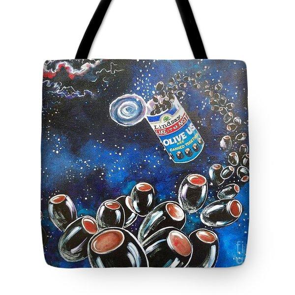 Blaa Kattproduksjoner                     Oliveus Are Canned Together Can Tote Bag