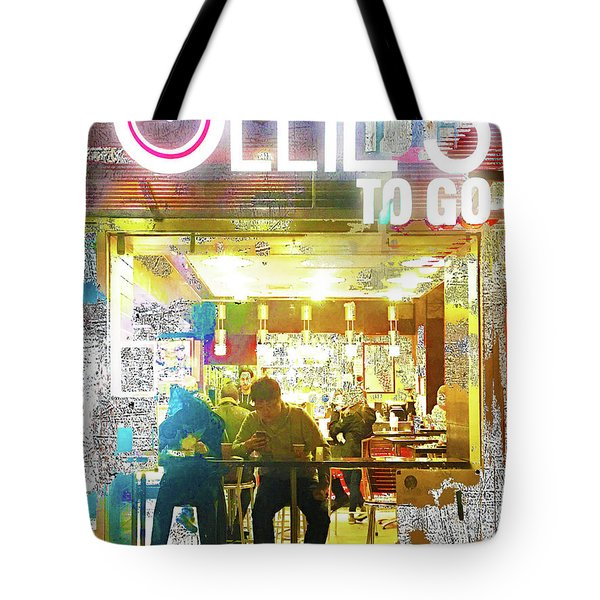 Tote Bag featuring the mixed media Ollie's by Tony Rubino
