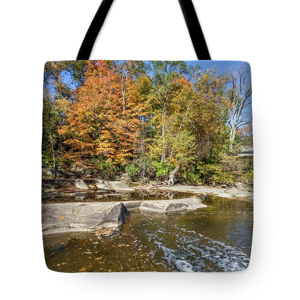 Tote Bag featuring the photograph Olmsted Falls Autumn Spendor by Lon Dittrick