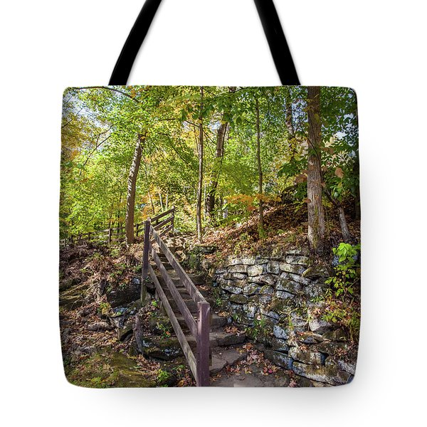 Tote Bag featuring the photograph Olmsted Falls Staircase by Lon Dittrick