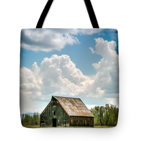 Tote Bag featuring the photograph Olsen Barn In Blue by Jan Davies