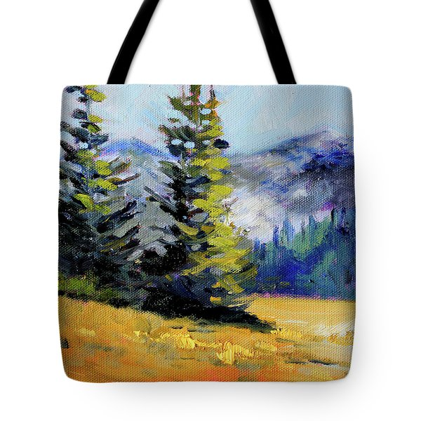 Tote Bag featuring the painting Olympic Range by Nancy Merkle