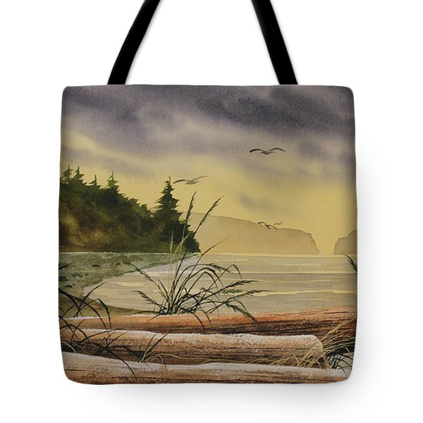 Tote Bag featuring the painting Olympic Seashore Sunset by James Williamson