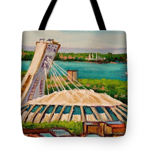 Olympic Stadium  Montreal Tote Bag by Carole Spandau