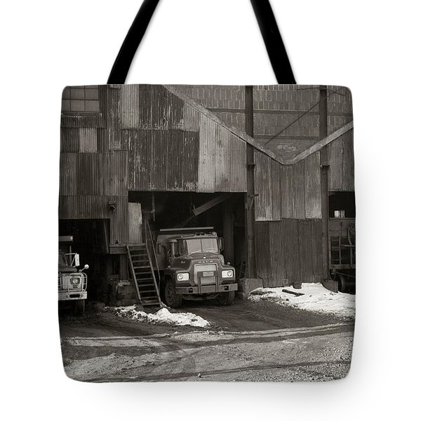 Olyphant Pa Coal Breaker Loading Trucks And Gondola Car Winter 1971 Tote Bag