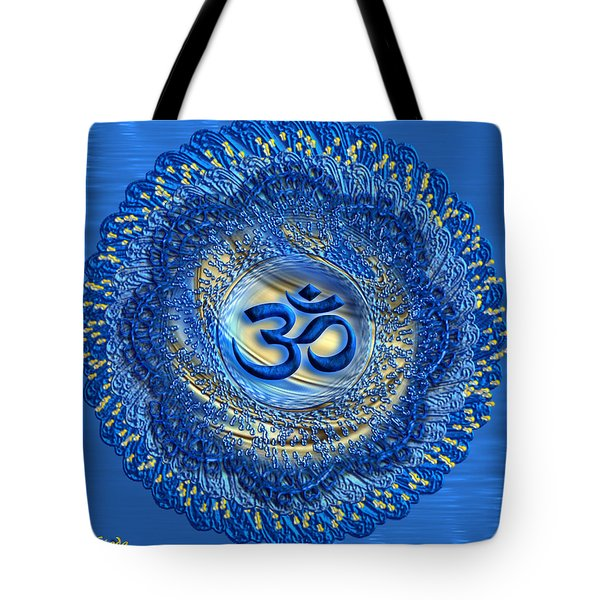 Tote Bag featuring the digital art Om Mandala by Giada Rossi